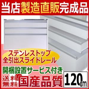 【送料無料】【開梱設置サービス付き】【国産完成品】ステンレス天板 タクミ キッチンカウンター120の写真