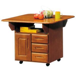 キッチンカウンター 折りたたみバタフライテーブル 完成品 家電収納 幅90cmの写真