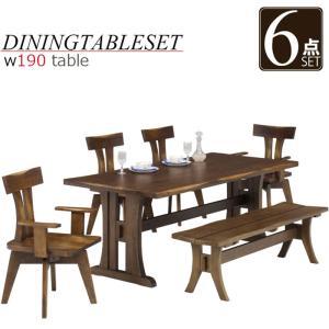ダイニングテーブル 7人掛け 6点セット ベンチ 和風モダン ダイニングテーブルセット 7人用 回転チェア|taiho-kagu