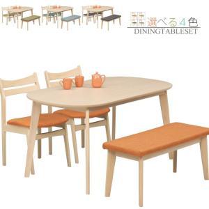 ダイニングテーブルセット ベンチ ダイニングセット 4点セット 4人用 楕円テーブル オーバル 北欧 モダン 木製 ファブリック|taiho-kagu