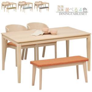 ダイニングテーブルセット ベンチ 4人掛け ダイニングセット 4点セット 長方形テーブル 北欧 モダン 木製 ファブリック taiho-kagu