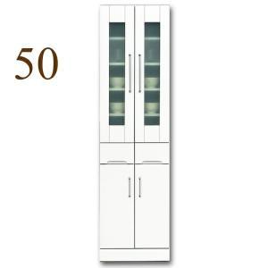 食器棚 幅50cm キッチン収納 クリスタル(50リビング ダイニングボード) 国産|taiho-kagu