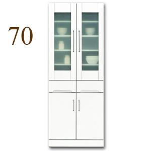食器棚 幅70cm キッチン収納 クリスタル(70リビング ダイニングボード) 国産|taiho-kagu