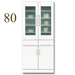 食器棚 幅80cm キッチン収納 クリスタル(80リビング ダイニングボード) 国産|taiho-kagu