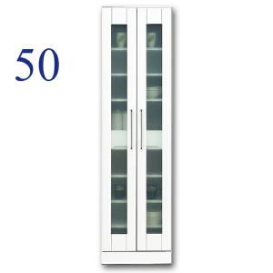 食器棚 完成品 幅50cm 収納 鏡面 ホワイト 白 カップボード ガラス扉 モダン|taiho-kagu