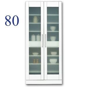 食器棚 完成品 幅80cm 収納 鏡面 ホワイト 白 カップボード ガラス扉 モダン|taiho-kagu