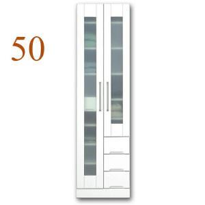 食器棚 幅50cm 完成品 収納 鏡面 ホワイト 白 ダイニングボード ガラス扉 モダン|taiho-kagu