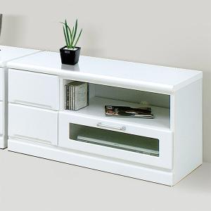 テレビ台 リビングボード 幅90cm 完成品 ローボード 鏡面 光沢 ホワイト 白 収納 木製 テレビボード|taiho-kagu