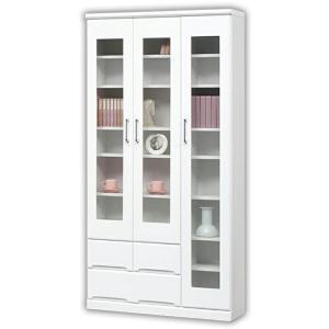 本棚 完成品 扉 幅90cm 書棚 鏡面 リビング収納 白 国産 ホワイト|taiho-kagu
