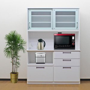 食器棚 レンジ台 引き戸 完成品 140cm ホワイト 白 キッチン収納 モイス|taiho-kagu