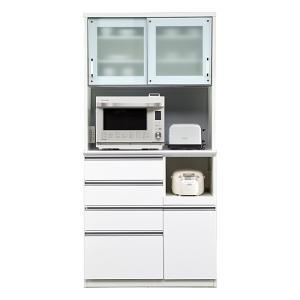 食器棚 レンジ台 引き戸 完成品 幅100cm (ホワイト/白) taiho-kagu