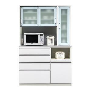 食器棚 レンジ台 引き戸 完成品 幅130cm ホワイト 白|taiho-kagu