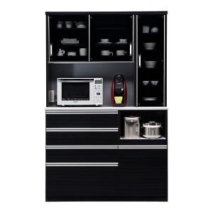 食器棚 レンジ台 引き戸 完成品 幅130cm ブラック 黒|taiho-kagu