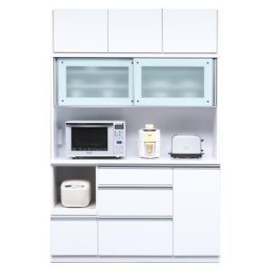 食器棚 レンジ台 引き戸 完成品 幅140cm ホワイト 白 国産 日本製|taiho-kagu