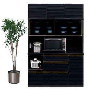 食器棚 レンジ台 引き戸 完成品 幅140cm ブラック木目 国産|taiho-kagu