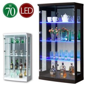 コレクションケース 幅70cm フィギュア コレクションボード LEDライト 完成品 キュリオケース 背面ミラー|taiho-kagu