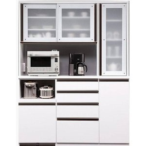 食器棚 キッチン収納 完成品 160cm 引き戸 ホワイト 白 taiho-kagu