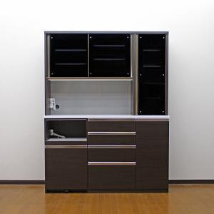 食器棚 キッチン収納 完成品 160cm 引き戸 ブラウン taiho-kagu