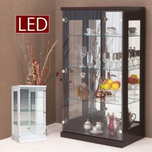 コレクションケース ショーケース 幅70cm LEDライト 収納 フィギュアラック 木製 ガラス扉 コレクションボード 白 茶|taiho-kagu