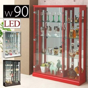ショーケース コレクションケース 幅90cm LEDライト スリム 収納 フィギュアラック 木製 ガラス扉 コレクションボード|taiho-kagu