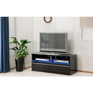 テレビ台 テレビボード 完成品 幅115cm ロータイプ ローボード リビング収納 鏡面 黒 LED|taiho-kagu