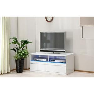 テレビ台 テレビボード 完成品 幅115cm ロータイプ ローボード リビング収納 鏡面 白 LED|taiho-kagu