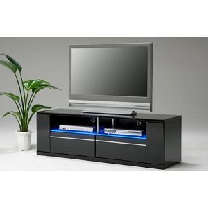 テレビ台 テレビボード 完成品 幅150cm ロータイプ ローボード リビング収納 鏡面 黒 LED|taiho-kagu