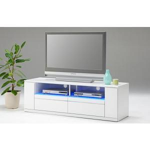 テレビ台 テレビボード 完成品 幅150cm ロータイプ ローボード リビング収納 鏡面 白 LED|taiho-kagu