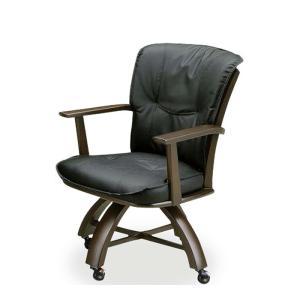 ダイニングチェア 単品 回転チェア キャスター付き 回転椅子 肘掛け モダン ダークブラウン ブラック 木製 PVC|taiho-kagu