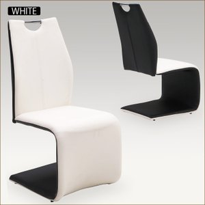 ダイニングチェア 2脚セット カンティレバーチェア ハイバック モダン 合皮 合成皮革 ホワイト ブラック 白 黒 PVC|taiho-kagu