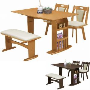 ダイニングテーブルセット 4人用 バタフライテーブル 伸縮 ベンチ ダイニングセット 4点セット 伸長 折りたたみ 収納|taiho-kagu