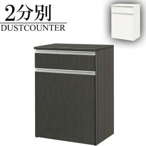 ダストボックスカウンター 2分別 キッチンカウンター 完成品 幅65cm ゴミ箱 レンジ台 スリム 鏡面の写真