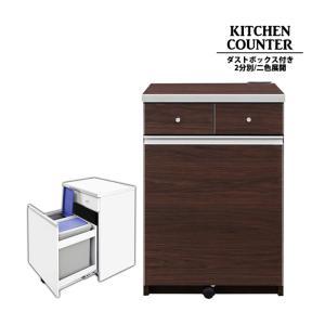ダストボックスカウンター キッチンカウンター ペール缶 2個付き 幅55cm 2分別 ゴミ箱 レンジ台 スリム 収納家具 木製 小さい すき間 コンパクト|taiho-kagu