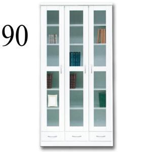 本棚 リビングボード 完成品 鏡面 扉 幅90cm|taiho-kagu