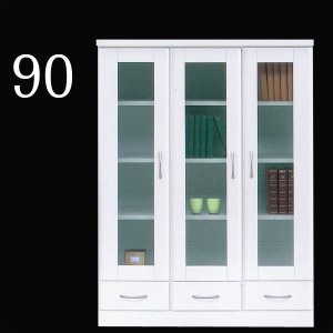 本棚 完成品 鏡面 ガラス扉付き 幅90cm リビング収納 家具 木製 白 国産|taiho-kagu