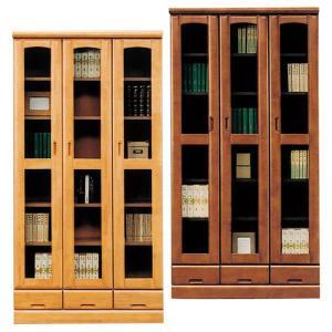 本棚 書棚 完成品 幅90cm リビングボード ガラス扉 木製 ハイタイプ 引き出し収納 日本製|taiho-kagu