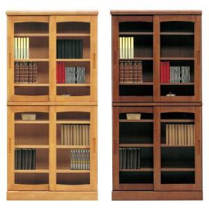 本棚 書棚 引き戸 完成品 幅85cm リビングボード ガラス扉 木製 ハイタイプ 日本製|taiho-kagu
