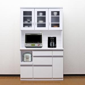 食器棚 国産 アウトレット レンジ台 国産 完成品 開き戸 幅105cm ロータス2 ホワイト 白 taiho-kagu