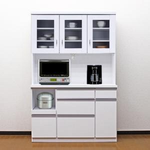 食器棚 国産 アウトレット レンジ台 国産 完成品 開き戸 幅120cm ロータス2 ホワイト 白 taiho-kagu