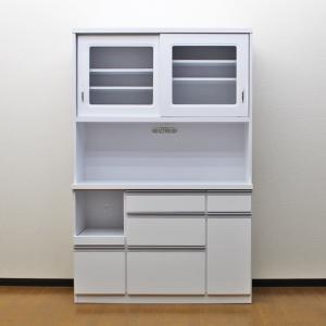 食器棚 国産 アウトレット レンジ台 国産 完成品 引き戸 幅120cm ロータス2 ホワイト 白 taiho-kagu