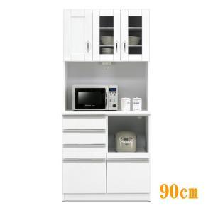 食器棚 レンジ台 国産 完成品 開き戸 幅90cm ボクサー2(ホワイト/白) taiho-kagu