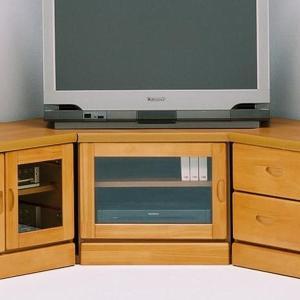 コーナーテレビボード コーナーのみ 完成品 幅75cm 家電収納 ガラス扉 木製 ナチュラル パイン無垢 日本製|taiho-kagu