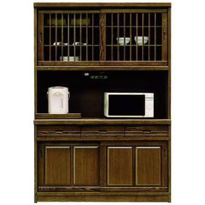 レンジ台 食器棚 完成品 幅133cm 引き戸 和 和風 レンジボード 木製 収納家具|taiho-kagu