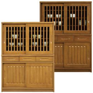 食器棚 完成品 幅120cm 高さ160cm 引き戸 キッチン収納 カップボード 木製 和風モダン ロータイプ|taiho-kagu