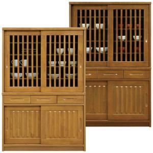 食器棚 和風モダン 完成品 幅120cm 引き戸 キッチンボード カップボード 木製 収納|taiho-kagu