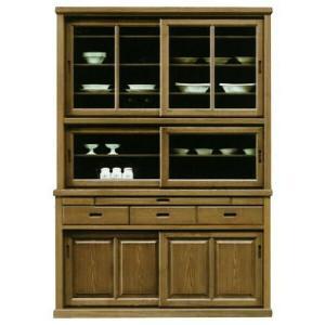 食器棚 完成品 幅135cm 引き戸 キッチンボード キッチン収納 タモ 木製 和風|taiho-kagu