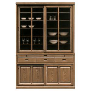 食器棚 完成品 幅135cm 引き戸 ダイニングボード キッチン収納 タモ 木製 和風|taiho-kagu