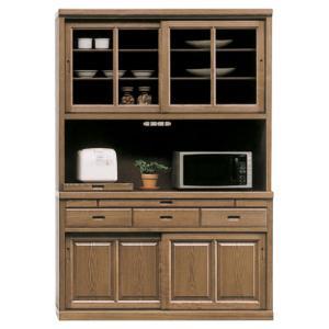 食器棚 レンジ台 完成品 幅135cm 引き戸 キッチンボード 収納 和風|taiho-kagu