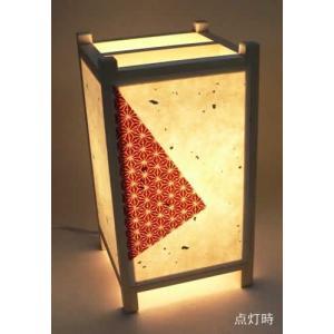 手作り角行灯 行燈 あんどん Mサイズ 手漉き楮和紙 (麻の葉模様和紙アレンジ) 省エネ電球13W(60W相当)付 電球色|taiho-kagu