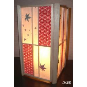 手作り行灯 行燈 あんどん Lサイズ 大和染紙&手漉き紅葉入り|taiho-kagu